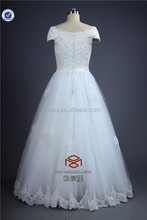 Suzhou Online Store SHMY-W0036 Tulle Full Bodice Pearls Lace Appliqued Cap Sleeve Lace Wedding Dress 2015