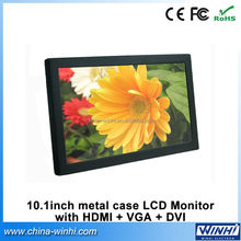 16:9 VGA DVI High-Definition Multimedia Interface professional 12v battery portable vga monitor 10.1 inch lcd display screen