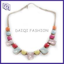 High Quality Fashion Necklace Metal Chain,charm colored rhinestone Necklaces with Resin Decorate Charming Neckalce for party