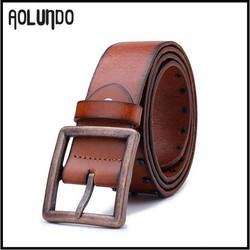 Vintage design 3.8cm italian cow leather belt men