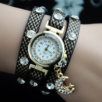 Leather Strap Watch Wholesale New Style 10 Colors Leather Wrist Moon Star Pendant Leather Strap Watch