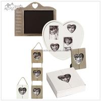 Custom rustic wooden love double heart shaped photo frame mat