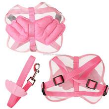 Pet Dog Cat Soft Adjustable Nylon Mesh Angel Wing Harness&Leash Set Blue Pink