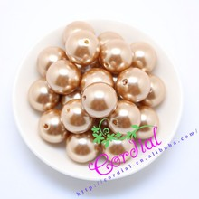 New Products Fashion Plastic Pearls In Bulk Loose Plastic Coffee Pearls With Hole Fake Plastic Pearl For DIY Kids Jewelry