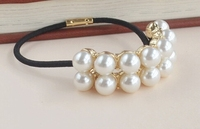 Latest Decorative Metal Pearls Beaded Ponytail Holder Gold