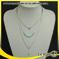 blue crystal intimate fashion teen necklace jewelry, teenage fashion jewelry