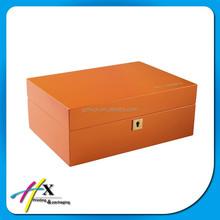 Custom Logo Orange Jewelry Wooden Velvet Storage Packing Box with Mirror