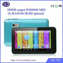 Tableta táctil via8880 de doble núcleo android 4.2.3 7 pulgadas de doble cámara