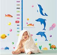 kindergarten Cute dolphine growth chart eco-friendly removable Wall Sticker DIY Kids Bedroom & Baby Nursery Vinyl Decal