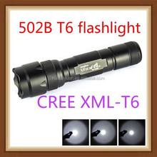 wholesale 2015 new UUltrafire 502B cree led XML T6 1000-2000 Lumens 5-Mode Led Flashlight(Battery+Charger)