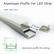 Slideable plat LED aluminium profil avec opale mat diffuseur PMMA cover pour plafonnier