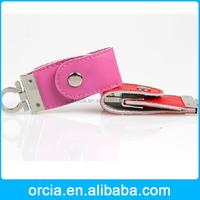 Custom OEM/ODM wholesale leather usb key chain usb flash driver