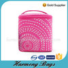 Pink 600D polyester girls handle cosmetic bag