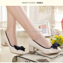 Classic Black Ladies Round Toe Thick Mid-heels Shoes Women Sex Black Heels Dress Shoes Women Court Shoes