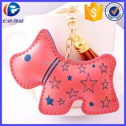 Promotional Gifts Hot Sale PU pink dog shape leather key holder