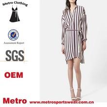 fashion OEM tie waist cream multi stripes plus size shirtdress