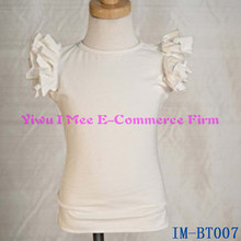Lastest Design Baby Girls Plain White Cotton Ruffle Tank Top Blouse Fashion Children Summer T-shirt IM-BT007