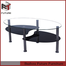Fish head shape painting tempered glass coffee tables