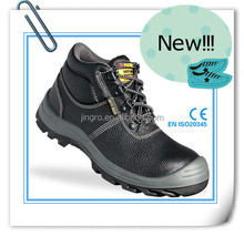 EN ISO 20345:2011 black genuine leather upper Dual density PU outsole safety shoes industrial safety equipment