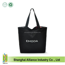 ECO Friendly Double Layer Black Color Durable Nylon Zipper Shopping Tote Bag With Customized Logo