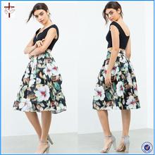 2016 New fashion Floral print Frenzy Midi length Skirt/inner skirt