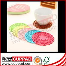 Brand new plastic cup mat/soft pvc coaster/embossed drinking cup mat for promotion
