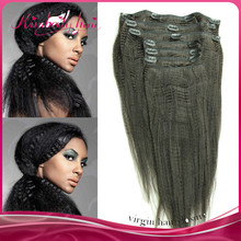 Full cuticle same direction 100 pecent virgin remy human hair clip in human hair extensions yaki
