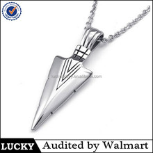 wholesale fashion stainless steel arrowhead necklace