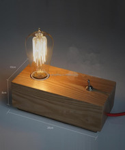 Simple Wooden table lamp for bedside with edison bulb