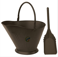 Bronze colored fireplace cleaning accessory metal coal hod and shovel