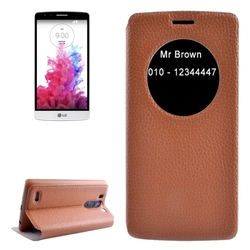 Factory Price with Caller ID Display Window Leather for LG G3 Beat Leather Case