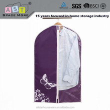 Foldable fabric garment packaging bag with PEVA window