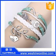 sliver infinity anchor Wax Cords bracelet / owls bird woven Leather Bracelet