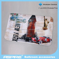 fashion Wholesale Wonderful City Life design printed coral flleece bath mat