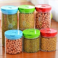 Heat resistant fresh keeping sealed borosilicate glass storage jar with PP lid
