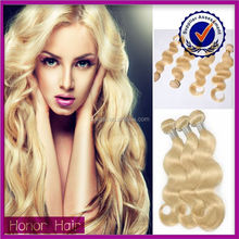 New arrival factory price best quality body wave virgin russian curly blonde hair
