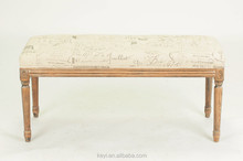 letter design fabric wooden long bench chair/wooden slats for bench(CH-958)