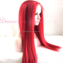 Yaki Straight Kanekalon Long Wine Red Wigs