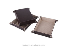 Genuine Leather Soft Leather Storage Tray With Canvas
