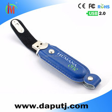 Fasionable leather usb 2.0 flash disk 16GB with line side