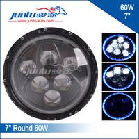 "12v 24v 7"" round Angel eyes 7 inch led 60w Jeep wrangler headlight H4 plug high/low beam"