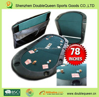 10 cup holder Folding poker table with green cloth