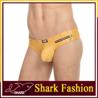 Shark Fashion man underwear thong sexy faux leather thongs nylon
