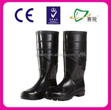 Preto básico borracha nitrílica pvc borracha botas de segurança para a construção civil