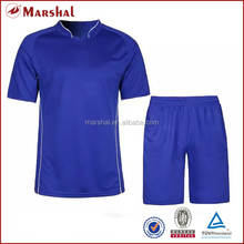 Blue footba,ll training kits in stock,high quality blank football kits