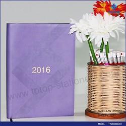 2016 pu leather notebook custom promotional Agenda Diary