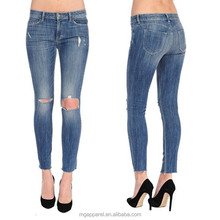 China women brushed denim jeans acid wash denim skinny frayed jeans