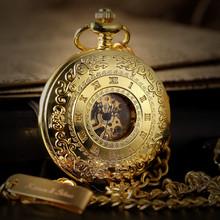 Skeleton Steampunk Transparent Half Hunter Roman Dial Gold Mechanical Pocket Watch
