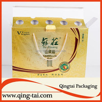 Fancy corrugated oil packaging boxes with handle