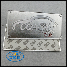 Square Shape Car Club Design Metal Silver Crafts 3M Adhesive Aluminum Label